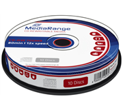 CD-RW MEDIARANGE 700MB 80MIN 12X SPEED CAKE 10