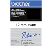 LABELTAPE BROTHER TC-201 12MMX8M WIT/ZWART