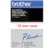 LABELTAPE BROTHER TC-202 12MMX8M WIT/ROOD