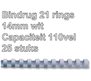 BINDRUG FELLOWES 14MM 21RINGS A4 WIT