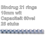 BINDRUG FELLOWES 10MM 21RINGS A4 WIT