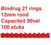 BINDRUG FELLOWES 12MM 21RINGS A4 ROOD