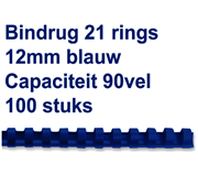 BINDRUG FELLOWES 12MM 21RINGS A4 BLAUW