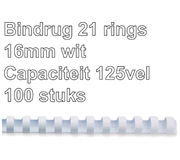BINDRUG FELLOWES 16MM 21RINGS A4 WIT
